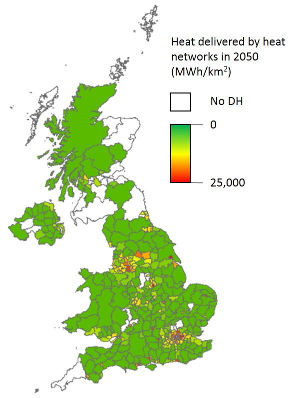 District heating by local authority area in 2050